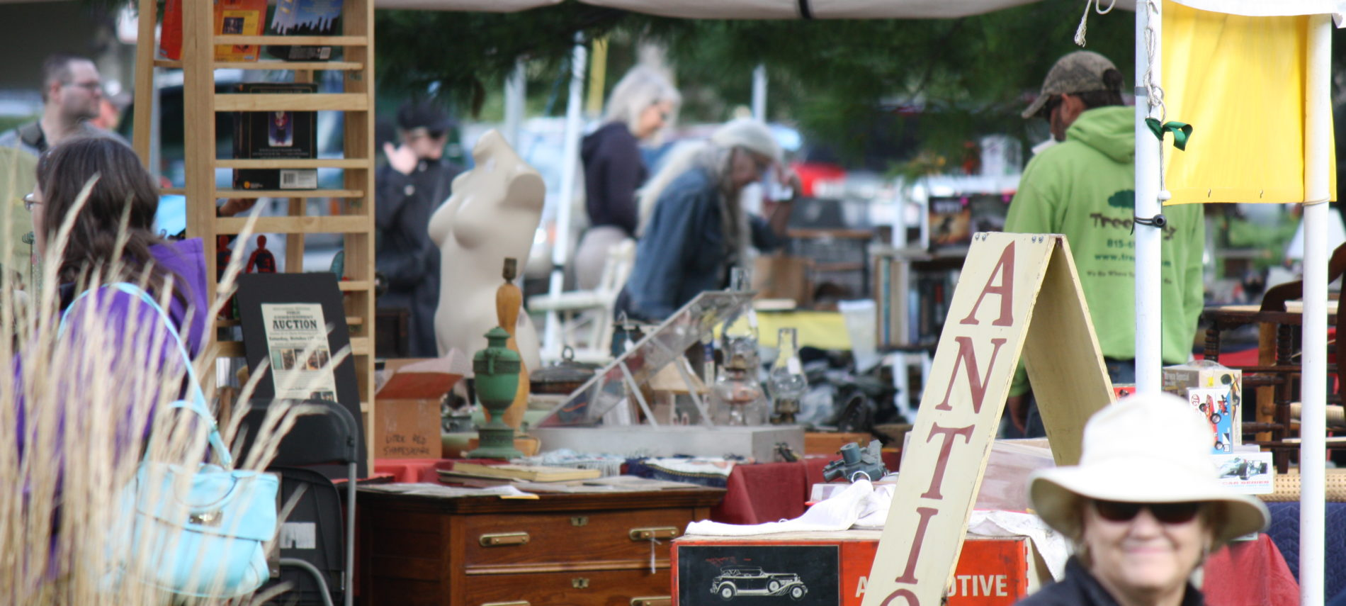 Several of the vendors' displays at the Antiques area.