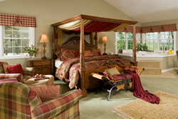 Cream room with canopy bed with wine comforter, plaid furniture and checkered valances on windows.