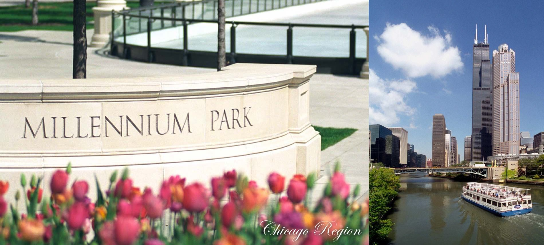 Cream brick wall with text Millennium Park engraved, tulips in front and text Chicago Region, Ferry on river with skyscrapers.