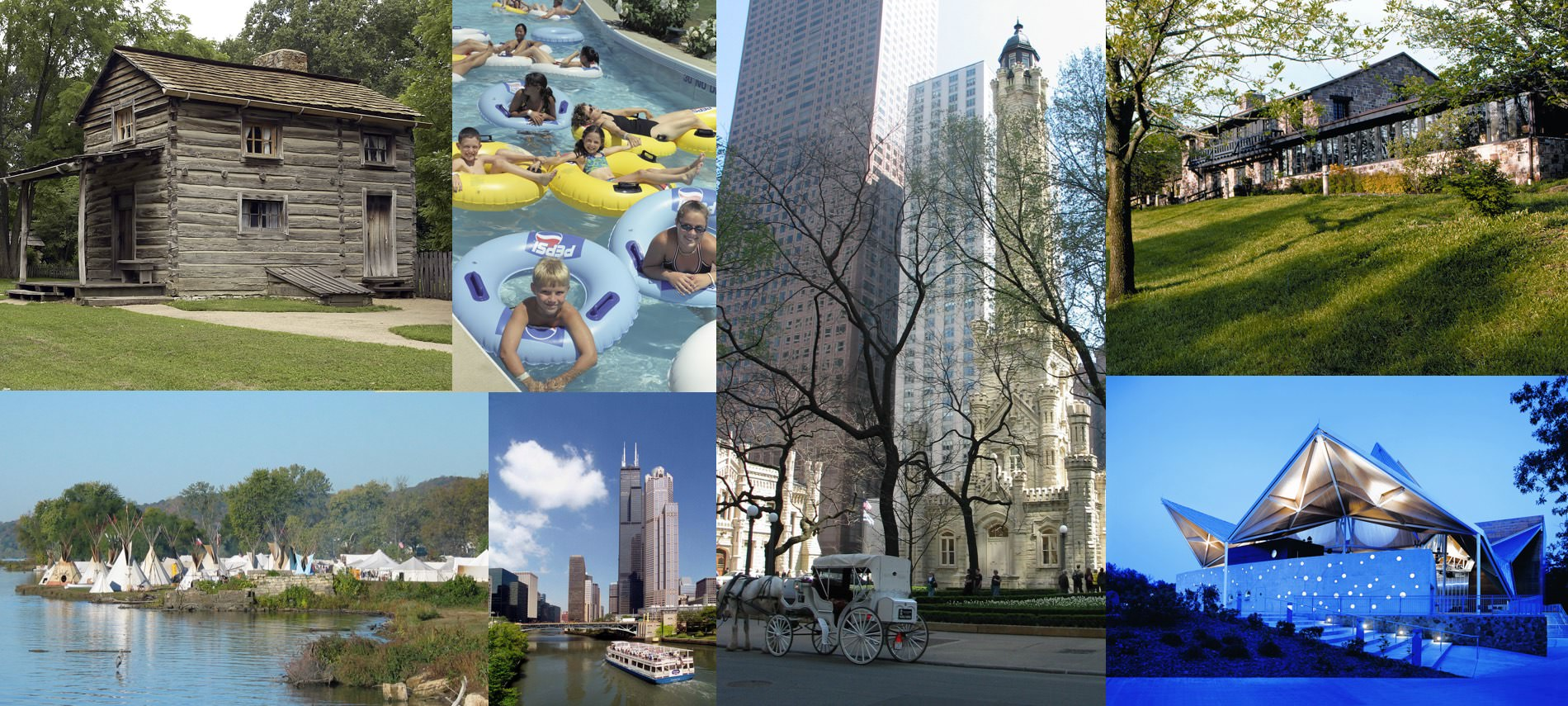 Collage of activities ranging from boating to tubing to carriage rides to museums to history tours.