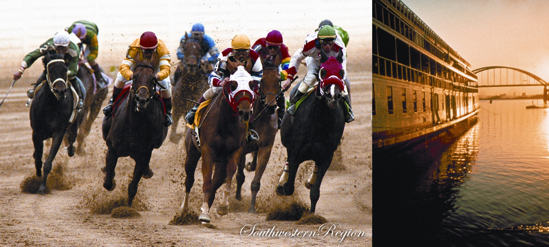Jockeys on horses during race with text Southwestern Region, right side is bridge over water with building on water.
