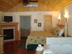 Cream walls with wood ceiling and air conditioner unit, Fireplace, queen bed with sconce above, tub in corner.