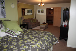 Yellow walls, bed with grey comforter with yellow flowers, brown couch facing dresser, tan carpet.